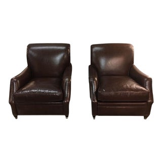 Edward Ferrell Brown Leather Chair and Recliner For Sale