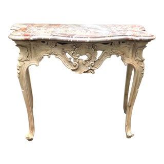 Rococo Style Marble Top Console Table For Sale