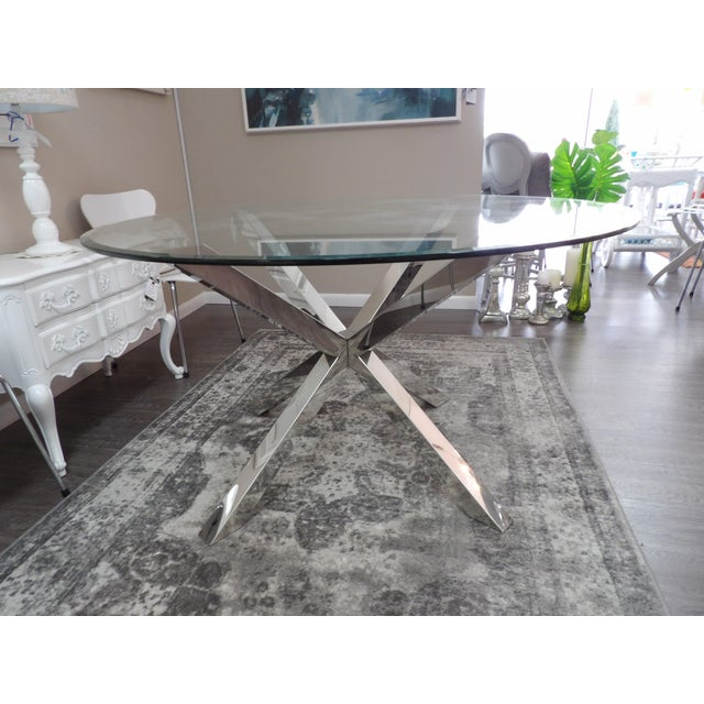 Contemporary Modern Polished Chrome Based Glass Topped Dining Table For Sale - Image 3 of 7