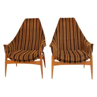Pair of Armchairs by Julia Gaubeck, Original Upholstery, Hungary, Circa 1970 For Sale