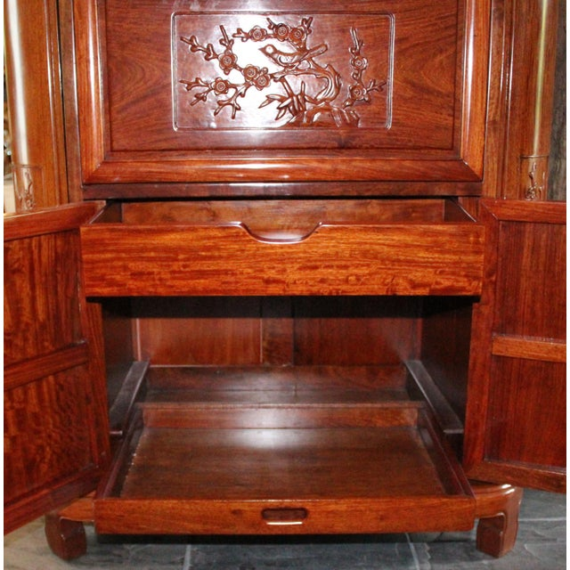 Reproduction Asian Carved Wood Bar - Image 5 of 9