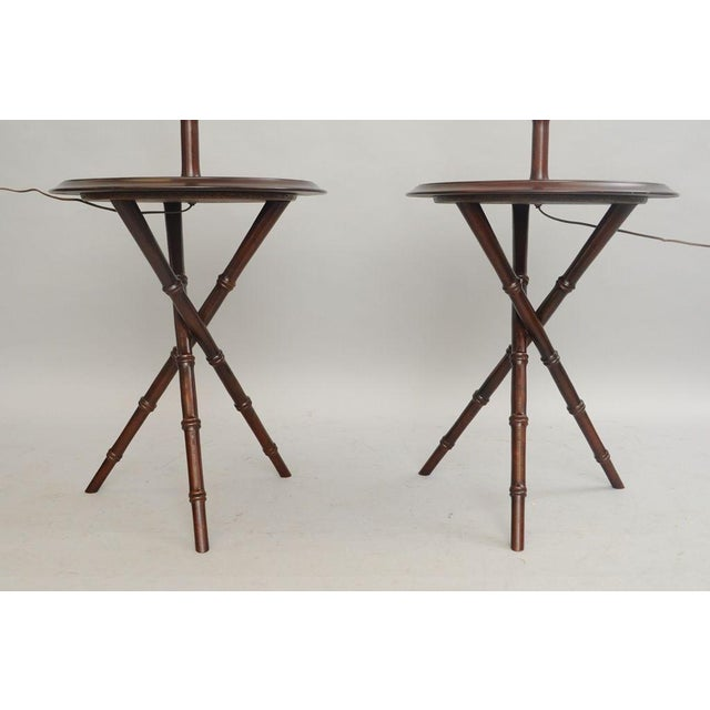 Pair of Chinese Chippendale Faux Bamboo Floor Lamp End Tables Tripod Wood Vintage - Image 6 of 11