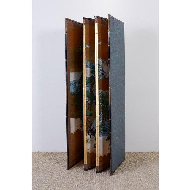 Japanese Six Panel Screen of Cranes by the Sea For Sale - Image 11 of 13