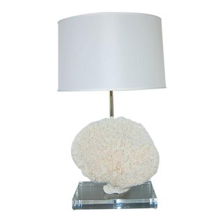 Coral Table Lamp on Lucite White For Sale