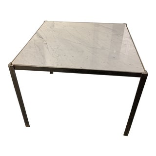 Vintage Mid-Century Modern Steelcase Marble Square Dining Table For Sale
