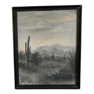 Vintage Mid-Century Framed Acrylic Cactus Painting For Sale