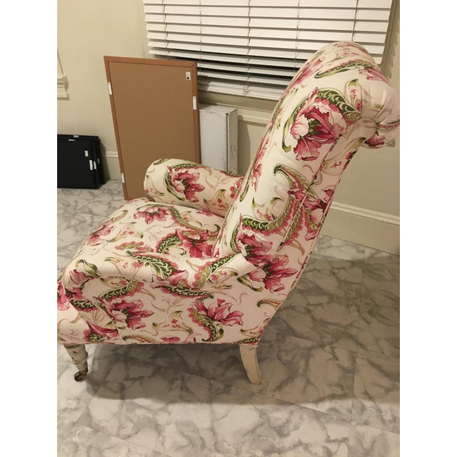 Floral Linen Armchair - Image 7 of 7