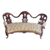 Image of 19th Century Victorian French Walnut Settee For Sale