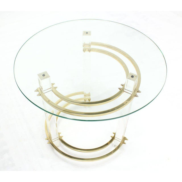 Early 20th Century Charles Hollis Jones Round Lucite and Brass Side Table For Sale - Image 5 of 8