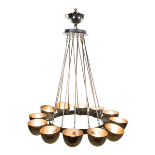 Modern Polished Steel Metal Cup 12 Light Chandelier