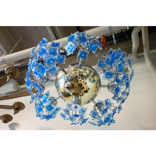 Gold Italian Chandelier Attributed to Fontana Arte, 1950s For Sale - Image 8 of 9