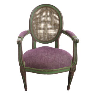 18th Century Caned Chair With Original Frame Finish For Sale