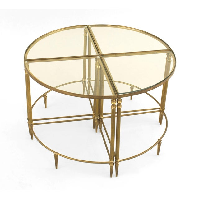 Mid-Century Modern Mid-Century American Brass Coffee Table With Four Nested Wedge Tables For Sale - Image 3 of 7