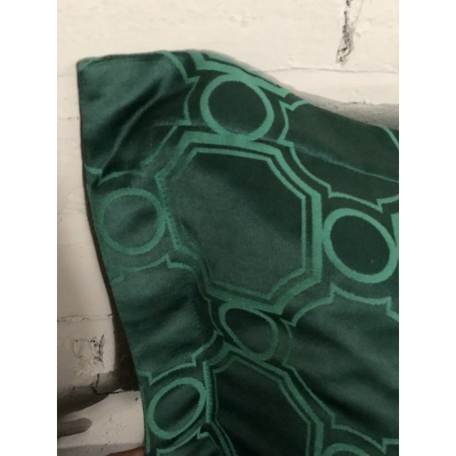 "Textile 24"" Square Pair of Jim Thompson Emerald Green Pillows in Asia Major For Sale - Image 7 of 9"