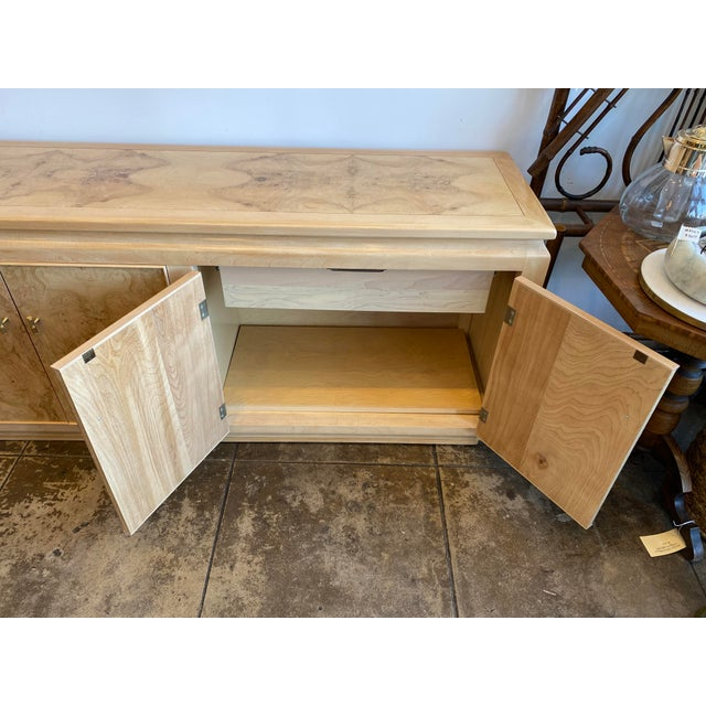 Mid-Century Modern Mid-Century Modern Blonde Burled Wood Credenza For Sale - Image 3 of 12