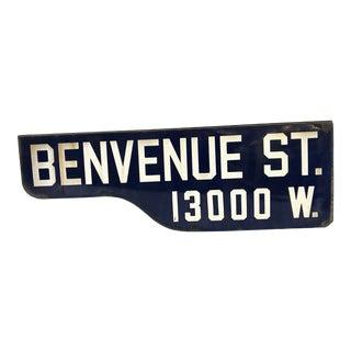 """Vintage """"Benvenue St"""" Santa Monica Street Sign For Sale"""