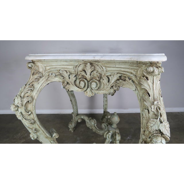 Rococo 19th Century French Rococo Style Painted Console With Carrara Marble Top For Sale - Image 3 of 13