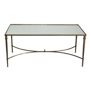 Vintage Brass Coffee Table With Mirror Top For Sale