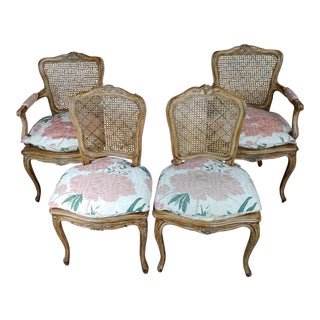 1940s Vintage French Provincial Carved Cane Armchairs & Chairs -Set of 4 For Sale