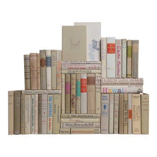 Midcentury Neutral Book Wall - Set of 50