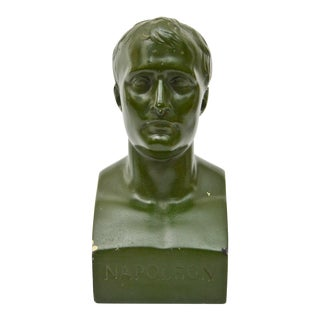 1960s Traditional Green Plaster Napoleon Bust For Sale