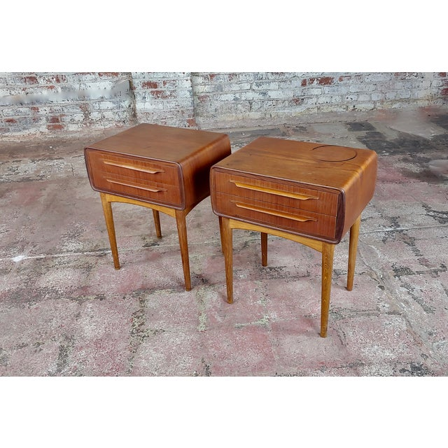 Johannes Andersen-Two Drawer Teak Bedside Tables-Mid Century Danish-A Pair For Sale - Image 10 of 10
