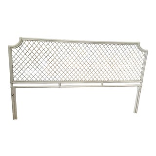 Palm Beach Regency White Rattan Ficks Reed King Headboard For Sale