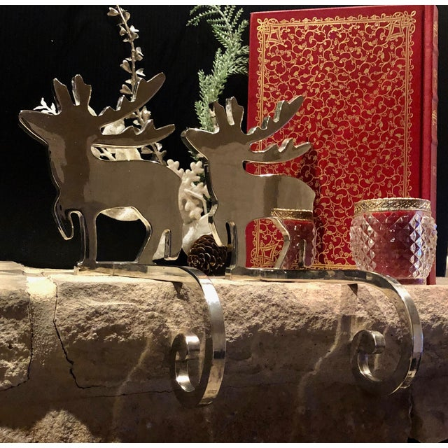 Late 20th Century Vintage Stocking Hangers Christmas Reindeer Silver Long Handle Pair For Sale - Image 5 of 10
