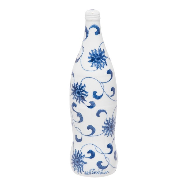 """""""Trailing Vines"""" Blue and White Cola Bottle by Taikkun LI For Sale"""