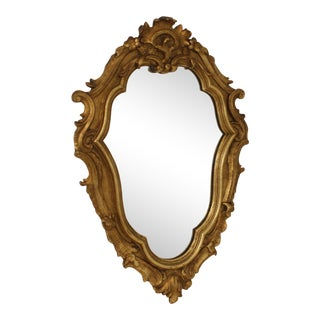 Early 20th Century Antique Italian Gold Gilt Rococo Hanging Wall Mirror For Sale