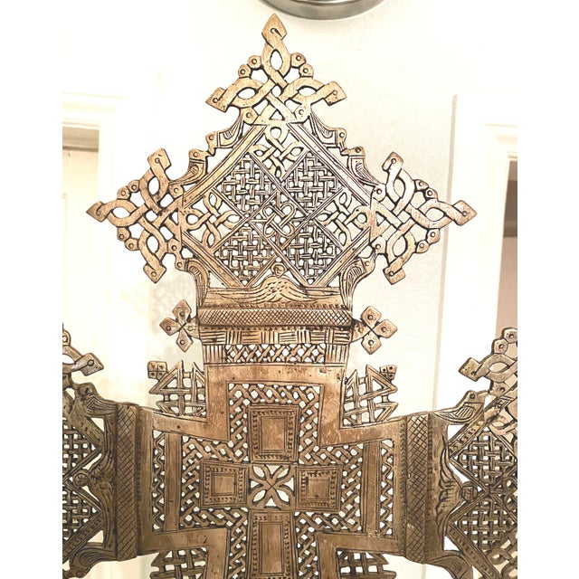 Mid 20th Century Mid 20th Century Large Ethiopian Coptic Processional Metal Cross on Black Metal Stand For Sale - Image 5 of 13