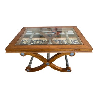 Campaign Century Glass Top Coffee Table For Sale