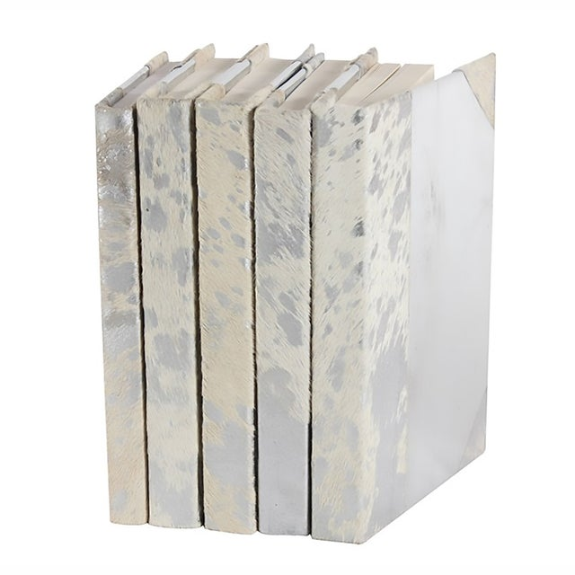 White Silver Metallic Hide Books - Set of 5 - Image 1 of 2