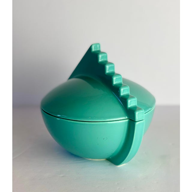 1980s Memphis Salins France Aqua Sugar Bowl With Lid For Sale - Image 4 of 9