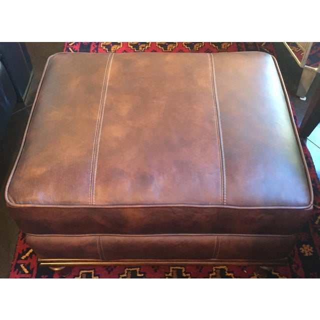 Lexington Brown Leather Ottoman - Image 2 of 8