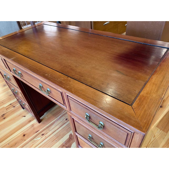 Mid 20th Century 20th Century Campaign Solid Teak Partner Desk With Brass Hardware For Sale - Image 5 of 13