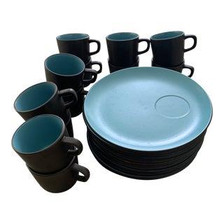 1970s Jones Roberts Bristol Blue Terra Stone Snack Lunch Plate Dinnerware, 24 Pieces For Sale