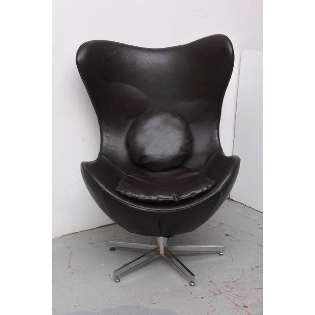 Wondrous Leather Egg Chair In Arne Jacobsen Style Denmark 1960S Ibusinesslaw Wood Chair Design Ideas Ibusinesslaworg