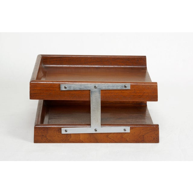 1960s 1960s Two-Tier Walnut Paper Tray For Sale - Image 5 of 7