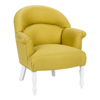 Casa Cosima Napoleon III Chair in Citron Linen For Sale