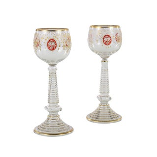 Hand Blown & Gold Etched Bohemian Glass Goblets - a Pair For Sale