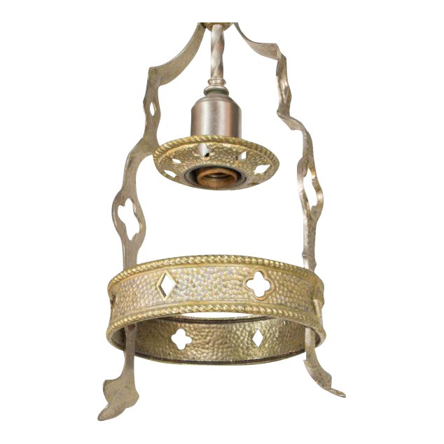 Small Brass and Nickel Hall Fixture For Sale
