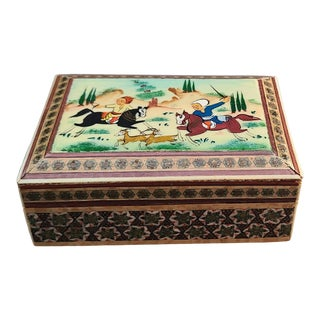 1980s Persian Khatam Marquetry Lidded Box with Hand Painted Bone Scene For Sale