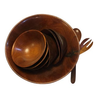 Vintage Wood Salad Bowl 6 Bowls & Servers For Sale
