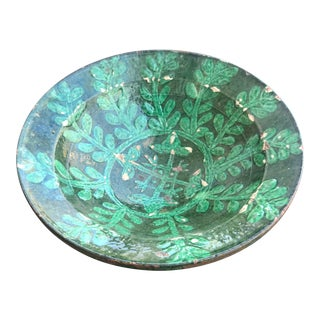 Antique Islamic Kashan Persian 13th Century Turquoise Glazed Pottery Bowl For Sale