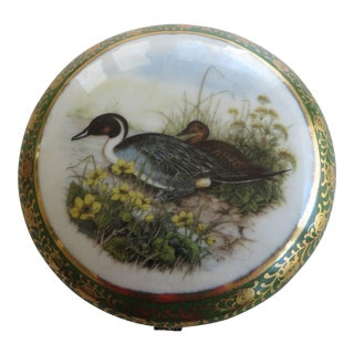 Limoges Porcelain Trinket Box With Transfer Decoration of Two Ducks For Sale