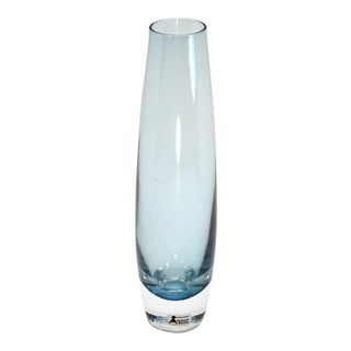 1960s Aseda Sweden Blue Bullet Crystal Glass Vase For Sale