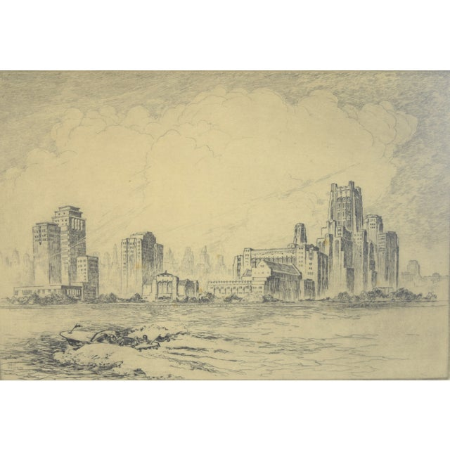 """William Kent Hagerman (American, 1893-1977). """"N.W. University Chicago Campus"""", circa 1950, etching depicting the..."""