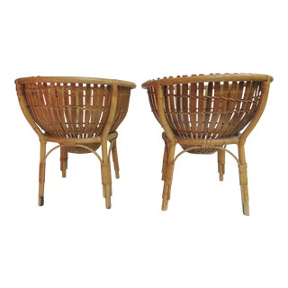 Pair of Vintage Franco Albini Style Round Side Tables