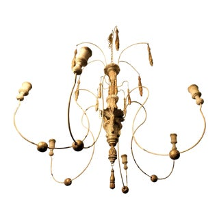French Iron and Wood Chandelier For Sale
